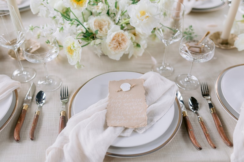 Wedding Officiant in NYC, close up of reception table setting